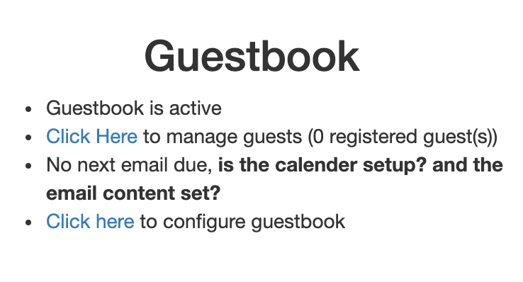Guestbook Homepage overview